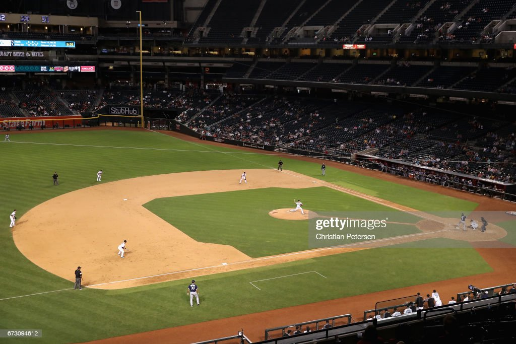 General view of action between the Arizona Diamondbacks and the San Diego Padres during the ninth inning of the MLB game at Chase Field on April 25, 2017 in Phoenix, Arizona.