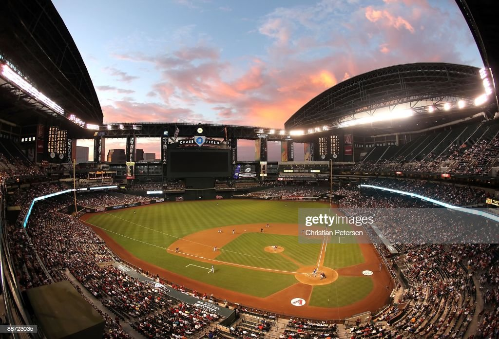 General view of action between the Arizona Diamondbacks and the Texas Rangers during the major league baseball game at Chase Field on June 23 2009 in...