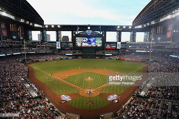 General view of action between the Colorado Rockies and the Arizona Diamondbacks during the MLB opening day game at Chase Field on April 4 2016 in...