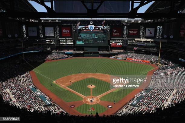 General view of action between the Colorado Rockies and the Arizona Diamondbacks during the first inning of the MLB game at Chase Field on April 30...