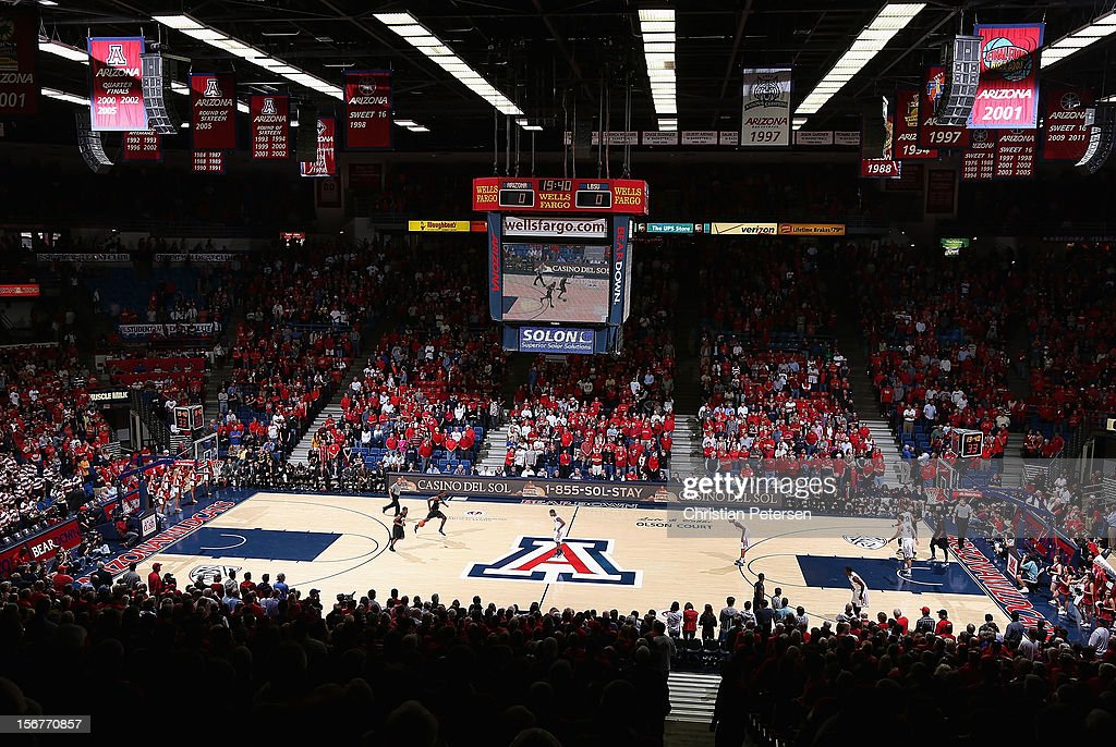 General view of action between the Long Beach State 49ers and the Arizona Wildcats during the college basketball game at McKale Center on November 19, 2012 in Tucson, Arizona. The Wildcats defeated the 49ers 94-72.