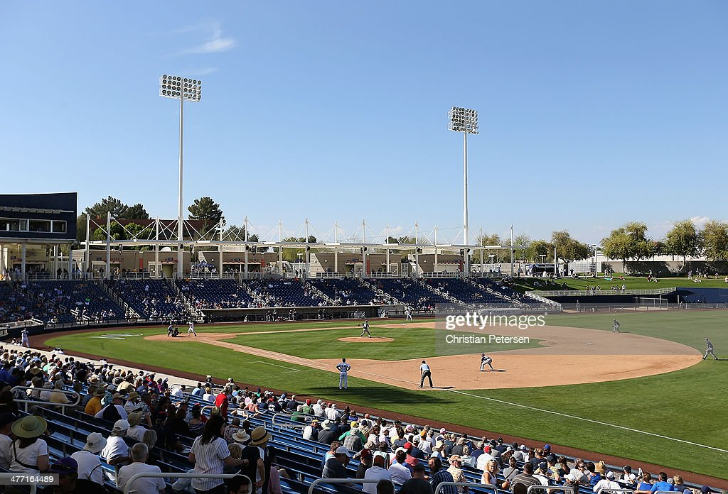 General view of action between the Milwaukee Brewers and the San Diego Padres during the spring training game at Maryvale Baseball Park on March 7...
