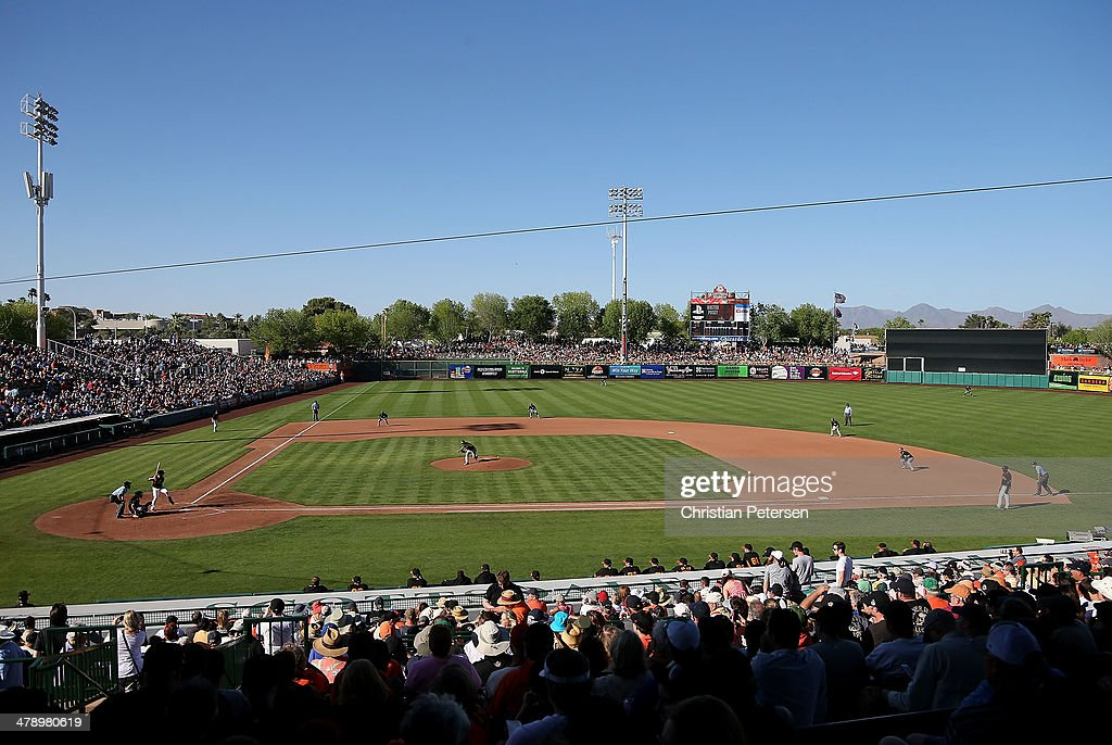 General view of action between the Oakland Athletics and the San Francisco Giants during the spring training game at Scottsdale Stadium on March 15...