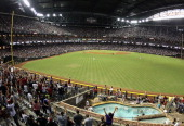 General view of action between the San Diego Padres and the Arizona Diamondbacks during the Major League Baseball game at Chase Field on September 10...