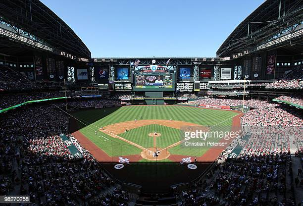 General view of action between the San Diego Padres and the Arizona Diamondbacks during the Opening Day major league baseball game at Chase Field on...