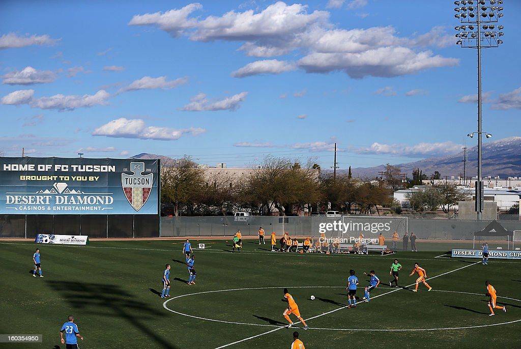 General view of action between the San Jose Earthquakes and the Houston Dynamo during The Desert Friendlies Presented By FC Tucson at Kino Sports Complex on January 29, 2013 in Tucson, Arizona. The Earthquakes defeated the Dynamo 2-0.
