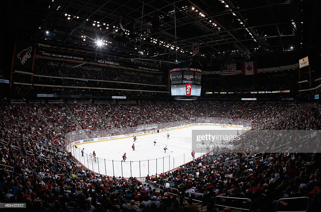 General view of action between the San Jose Sharks and the Arizona Coyotes during the NHL game at Gila River Arena on February 13, 2015 in Glendale, Arizona. The Sharks defeated the Coyotes 4-2.