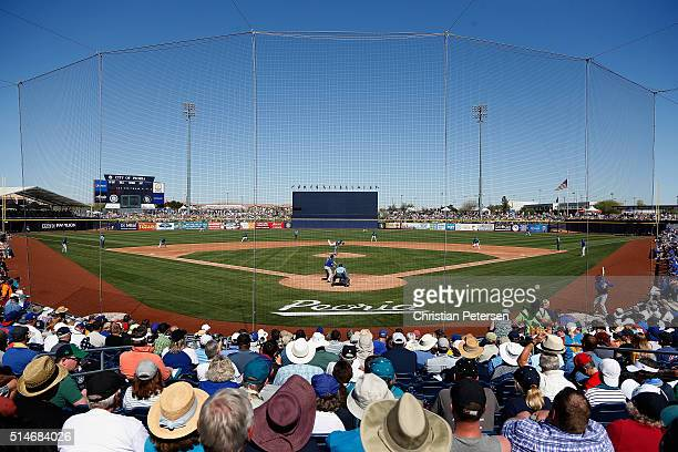 General view of action between the Seattle Mariners and the Chicago Cubs during the spring training game at Peoria Stadium on March 10 2016 in Peoria...
