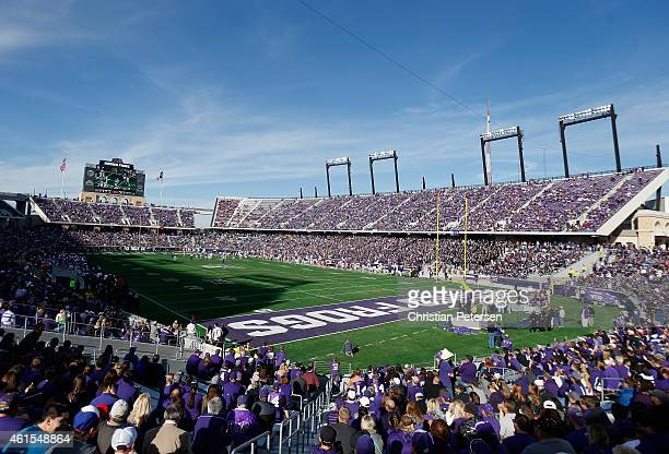 General view of action between the TCU Horned Frogs and the Iowa State Cyclones during the Big 12 college football game at Amon G Carter Stadium on...