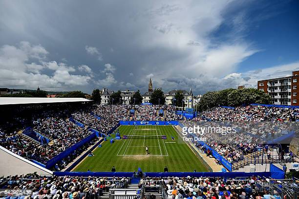 A general view of action during a ladies final match between Dominika Cibulkova of Slovakia and Karolina Pliskova of Czech Republic on day seven of...