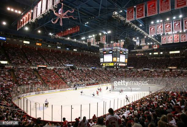 General view of action during game two of the Western Conference Finals of the 2008 NHL Stanley Cup Playoffs between the Detroit Red Wings and the...