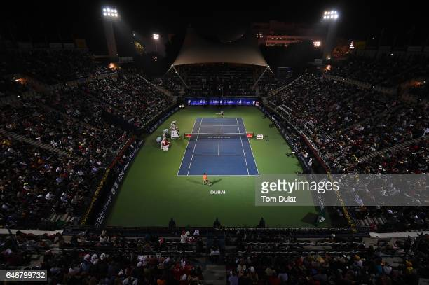 General view of action during second round match between Roger Federer of Switzerland and Evgeny Donskoy of Russia on day four of the ATP Dubai Duty...
