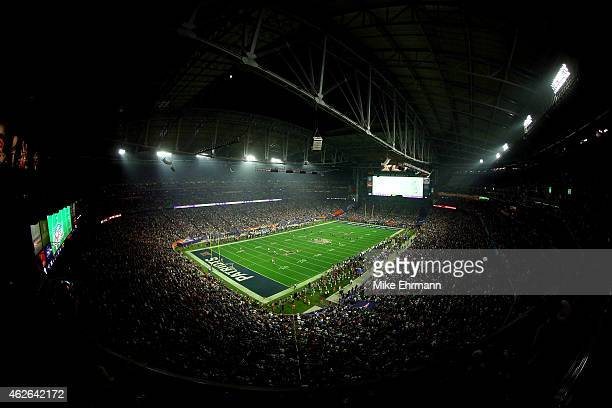 A general view of action during Super Bowl XLIX between the New England Patriots and the Seattle Seahawks at University of Phoenix Stadium on...
