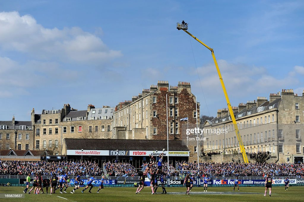 General view of action during the Amlin Challenge Cup Quarter Final match between Bath and Stade Francais at the Recreation Ground on April 06, 2013 in Bath, England.