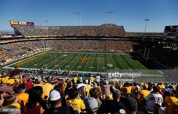 General view of action during the college football game betwen the Arizona State Sun Devils and the Notre Dame Fighting Irish at Sun Devil Stadium on...