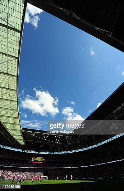 A general view of action during the FA Community Shield match between Manchester United and Wigan Athletic at Wembley Stadium on August 11 2013 in...