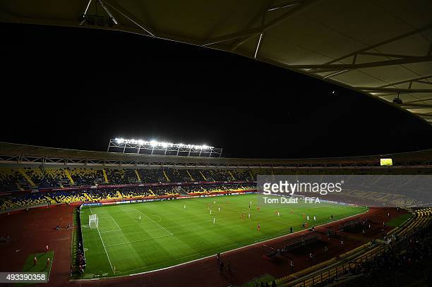 General view of action during the FIFA U17 World Cup Chile 2015 Group E match between Korea DPR and Russia at Estadio Municipal de Concepcion on...