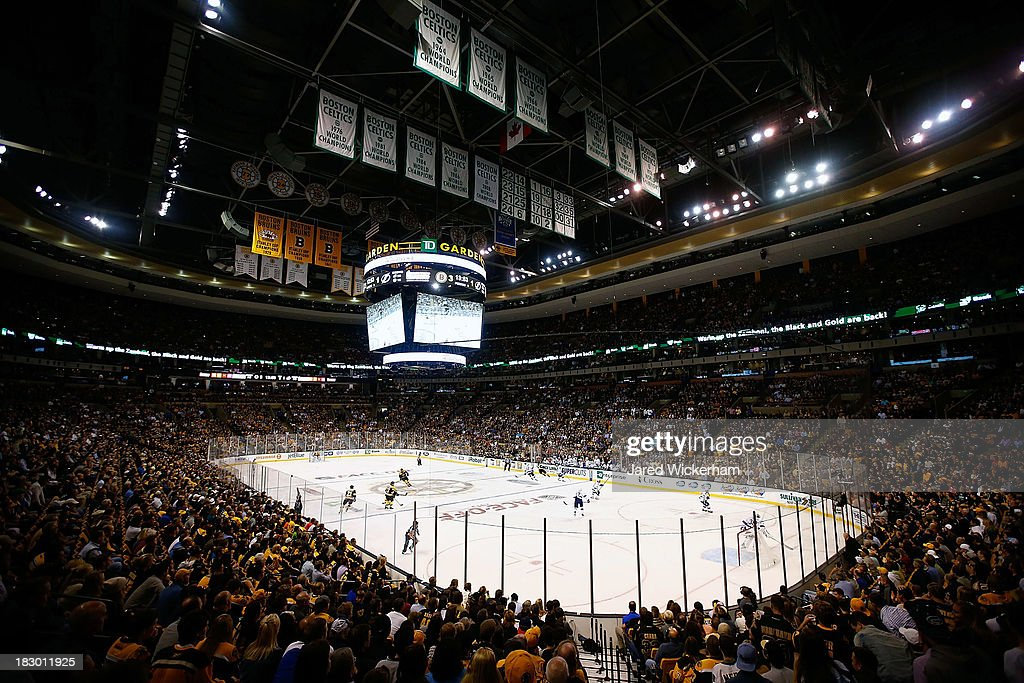 A general view of action during the home opener game between the Boston Bruins and the Tampa Bay Lightning on October 3, 2013 at TD Garden in Boston, Massachusetts.
