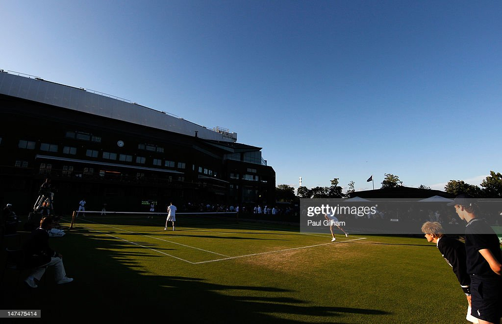 A general view of action during the Mixed Double's second round match between Daniele Bracciali and Roberta Vinci of Italy and Philipp Petzschner and Angelique Kerber of Germany on day six of the Wimbledon Lawn Tennis Championships at the All England Lawn Tennis and Croquet Club at Wimbledon on June 30, 2012 in London, England.