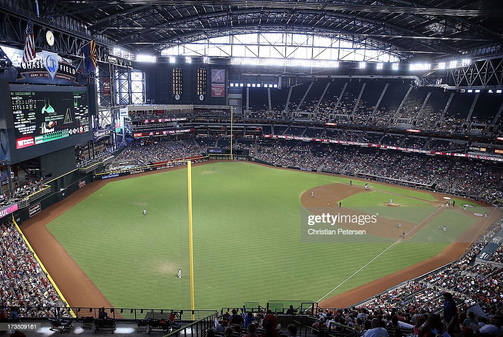 General view of action during the MLB game between the Arizona Diamondbacks and Milwaukee Brewers at Chase Field on July 14, 2013 in Phoenix, Arizona. The Brewers defeated the Diamondbacks 5-1.