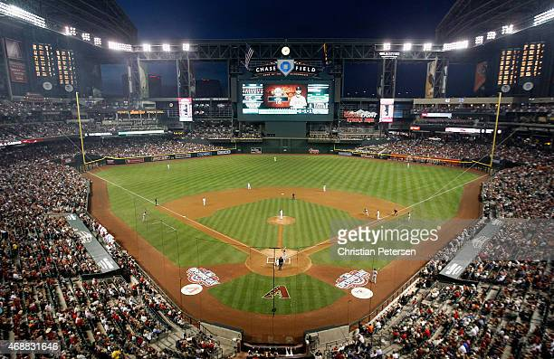 General view of action during the Opening Day MLB game between the Arizona Diamondbacks and the San Francisco Giants at Chase Field on April 6 2015...