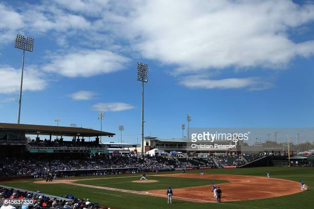General view of action during the spring training game between the Kansas City Royals and Texas Rangers at Surprise Stadium on February 26 2017 in...