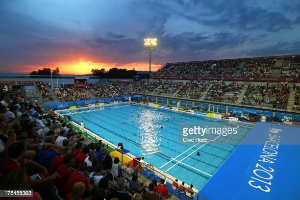 A general view of action during the Swimming Men's 5th6th Place Match between Greece and Spain on day fifteen of the 15th FINA World Championships at...