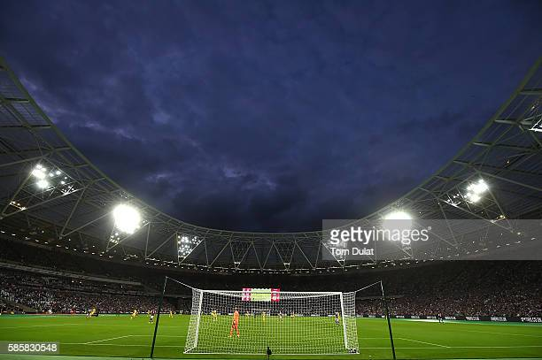 A general view of action during the UEFA Europa League Qualification round match between West Ham United and NK Domzale at London Stadium on August 4...