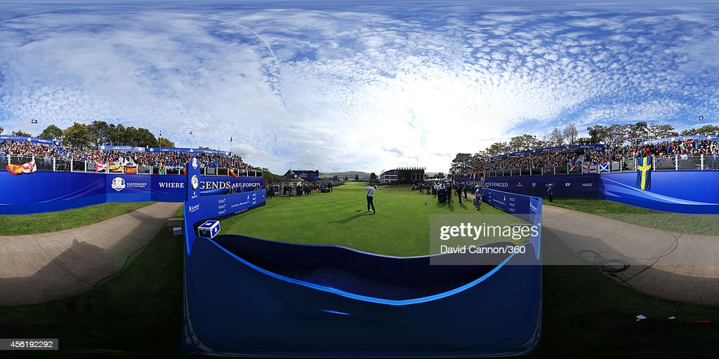 A general view of action from the 1st hole during the Afternoon Foursomes of the 2014 Ryder Cup on the PGA Centenary course at the Gleneagles Hotel...