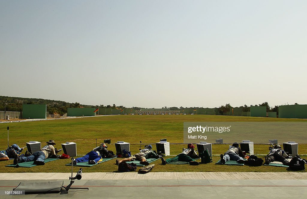 A general view of action in the 500 yards Singles Full Bore Open at the CRPF Campus, Kadarpur during day seven of the Delhi 2010 Commonwealth Games on October 10, 2010 in Gurgaon, India.