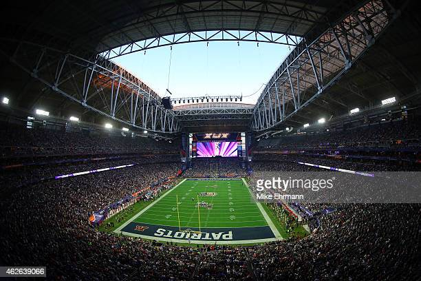 A general view of action in the first half between the New England Patriots and the Seattle Seahawks during Super Bowl XLIX at University of Phoenix...