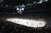 A general view of action of the game between the Columbus Blue Jackets and the Detroit Red Wings on December 23 2002 at Nationwide Arena in Columbus...