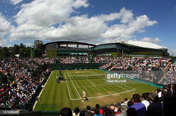 A general view of action on Court 3 as Sloane Stephens of USA plays Sabine Lisicki of Germany during their Ladies' singles third round match on day...