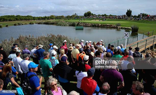 A general view of action on the 14th hole during the final round of the Portugal Masters at Oceanico Victoria Golf Club on October 18 2015 in...