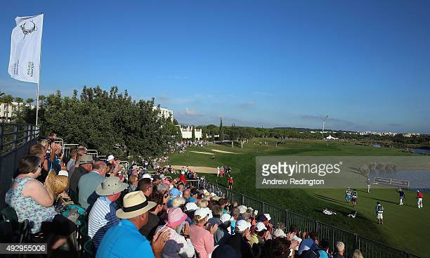 A general view of action on the 18th hole during the second round of the Portugal Masters at Oceanico Victoria Golf Club on October 16 2015 in...