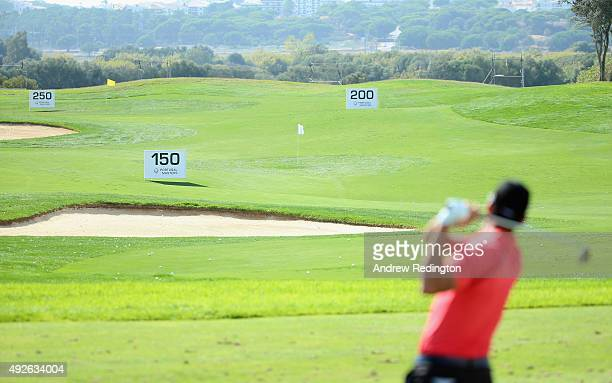 A general view of action on the driving range during the Pro Am event prior to the start of the Portugal Masters at Oceanico Victoria Golf Club on...