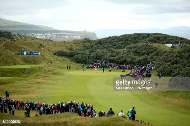 A general view of action on the first during day two of the Dubai Duty Free Irish Open at Portstewart Golf Club