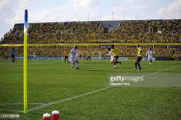 A general view of action taking place for the first time in front of a new stand at Hitachi Kashiwa stadium during the JLeague match between Kashiwa...