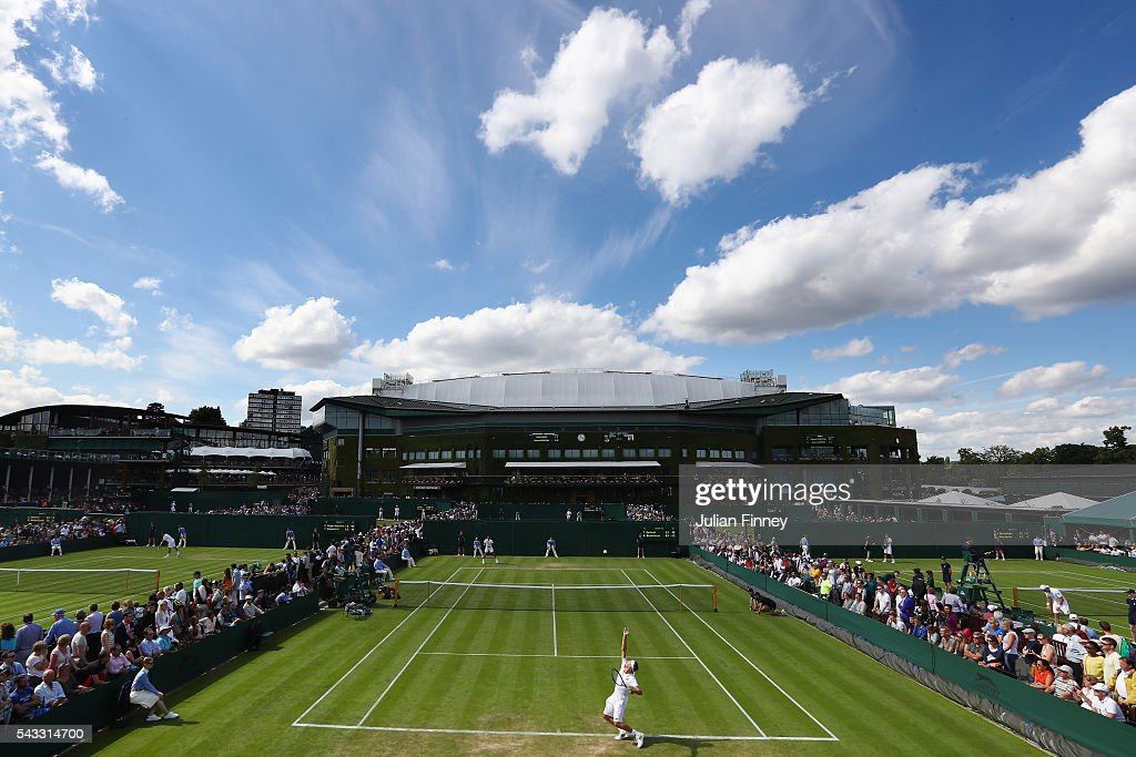 A general view of action the outside courts on day one of the Wimbledon Lawn Tennis Championships at the All England Lawn Tennis and Croquet Club on June 27th, 2016 in London, England.