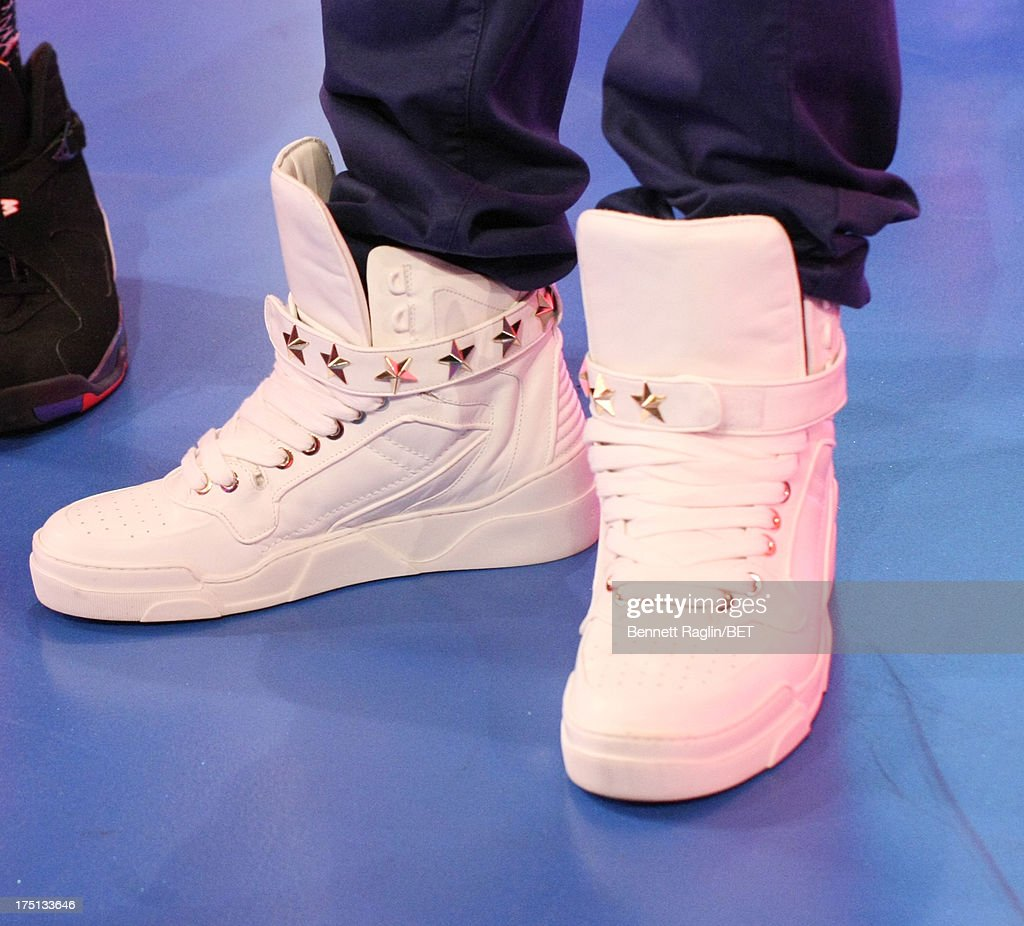A general view of actor Tristan Wilds' shoes during BET's '106 & Park' at BET Studios on July 31, 2013 in New York City.