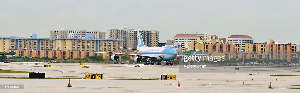 General view of AF1 landing during President Barack Obama arrival in Miami for a private DNC fundraising event. POTUS landed at 5:15pm at Miami International Airport on June 12, 2013 in Miami, Florida.