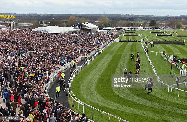 A general view of Aintree Racecourse is seen as Josses Hill ridden by Barry Geraghty wins the International Festival For Business 2014 Top Novices'...