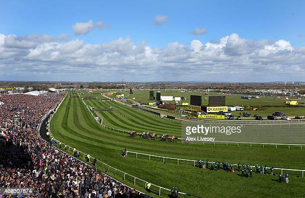 A general view of Aintree Racecourse is seen during the Silver Cross Stayers' Hurdle Race at the 2015 Crabbie's Grand National at Aintree Racecourse...