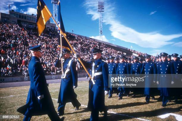 General view of Air Force cadets stand on the field prior to the game against the Denver Pioneers on November 8 1958 at DU Stadium in Denver Colorado