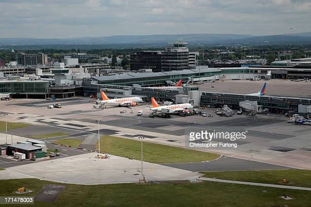 A general view of airport operations from the inside of Manchester Airports new air traffic control tower on June 25 2013 in Manchester England...
