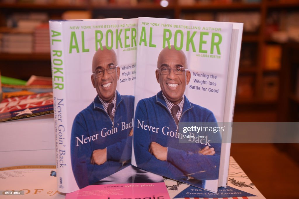 General view of Al Roker book on display during greets fans and signs copies of his book 'Never Goin Back: Winning the Weight Loss Battle for Good' at Books and Books on February 22, 2013 in Coral Gables, Florida.