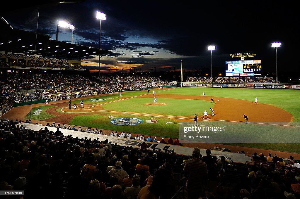 General view of Alex Box stadium as the sun sets during Game 2 of the NCAA baseball Super Regionals between the LSU Tigers and the Oklahoma Sooners on June 8, 2013 in Baton Rouge, Louisiana.