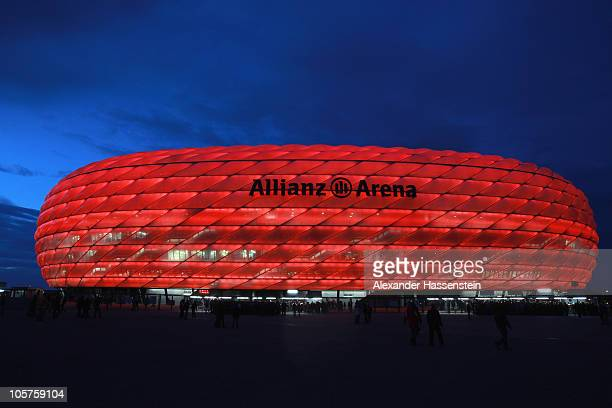 General view of Allianz Arena prior to the UEFA Champions League group E match between FC Bayern Muenchen and CFR 1907 Cluj at Allianz Arena on...