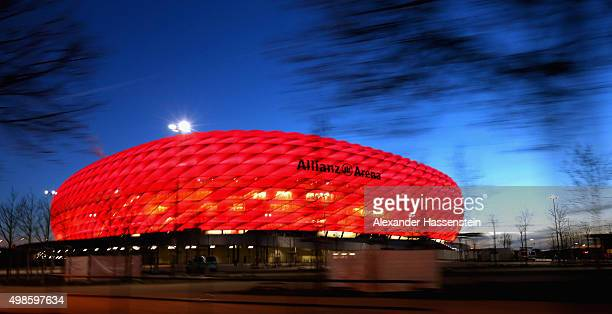 General view of Allianz Arena prior to the UEFA Champions League Group F match between FC Bayern Muenchen and Olympiacos FC at Allianz Arena on...