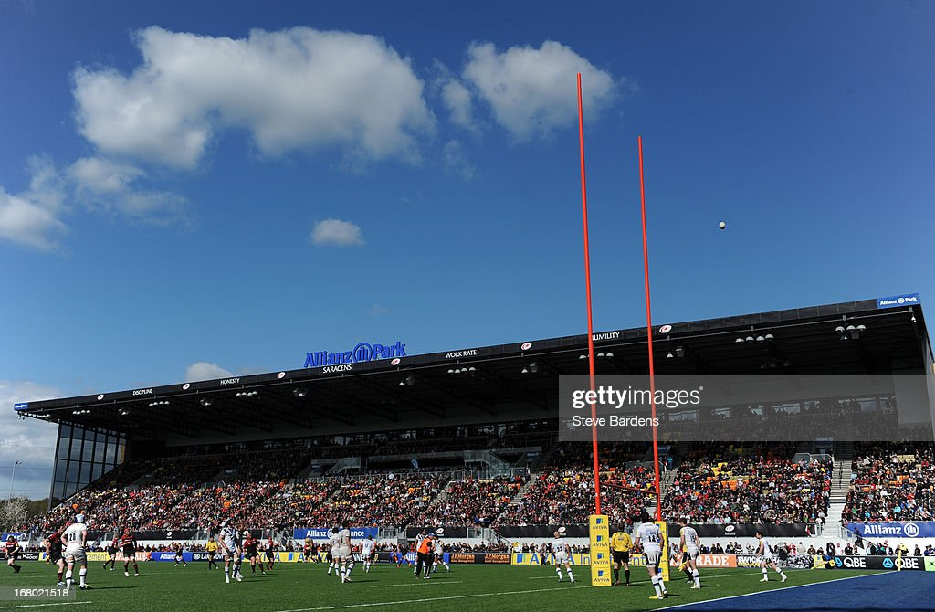 A general view of Allianz Park during the Aviva Premiership match between Saracens and Bath at Allianz Park on May 04, 2013 in Barnet, England.